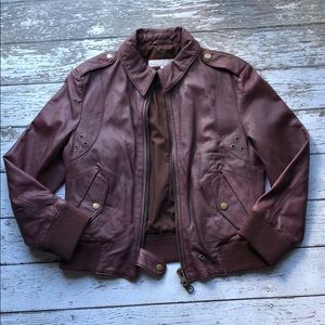 Vintage All Saints Burgundy Leather Jacket